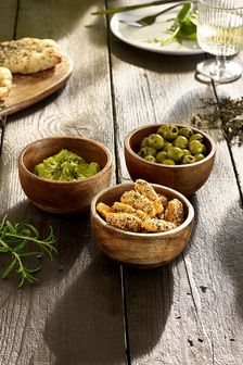 Mango Wood Set of 3 Dip Bowls