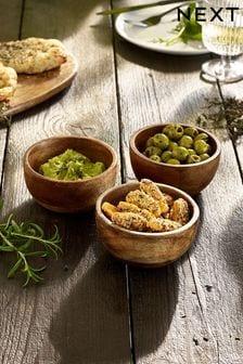 Set of 3 Mango Wood Snack Bowls