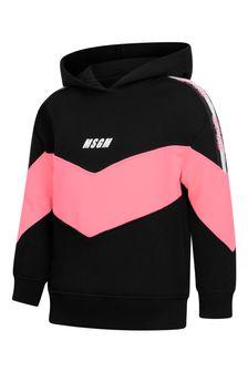 MSGM Girls Black/Fuchsia Cotton Hoodie
