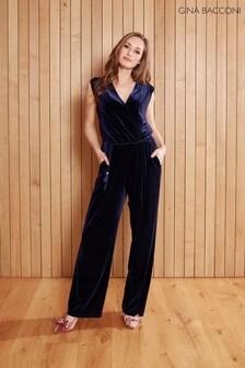 Gina Bacconi Blue Ferne Velvet Wrap Jumpsuit