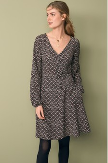 V-Neck Long Sleeve Tea Dress