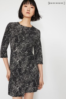 Warehouse Black Croc Wrap Front Mini Dress