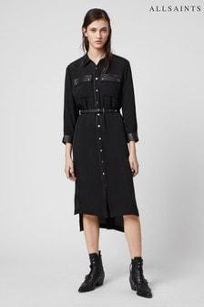 Черное платье-рубашка в стиле вестерн AllSaints Esther