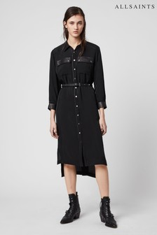 AllSaints Black Western Esther Shirt Dress