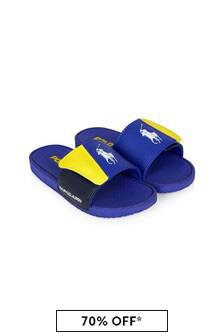 Ralph Lauren Kids Unisex Blue Leary Sliders
