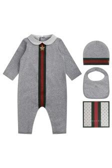GUCCI Kids Baby Boys Romper - Grey 100% Cotton 3 Piece Gift Set