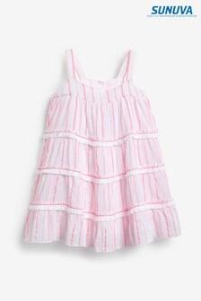 Sunuva Pink Stripe Fringed Tier Beach Dress