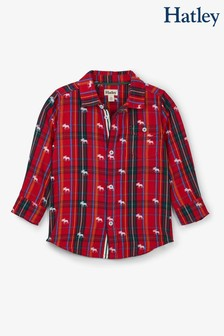 Hatley Red Moose On Plaid Button Down Shirt