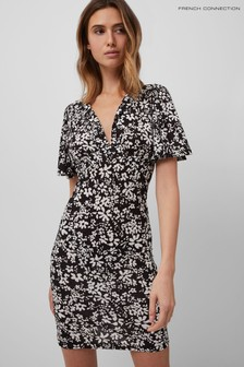 French Connection Black Rita Florale Med Jersey Dress
