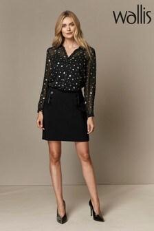 Wallis Black Cotton Lux A-Line Skirt