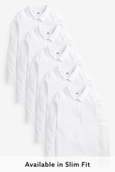 5 Pack Long Sleeve Slim Fit Poloshirts (3-16yrs)