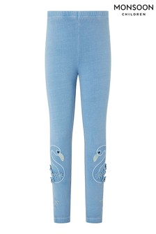 Monsoon Blue Flamingo Garment Dye Leggings