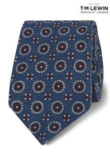 T.M. Lewin Navy Heritage Geometric Wool Slim Tie
