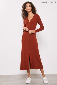 Mint Velvet Rust Button Ribbed Midi Dress