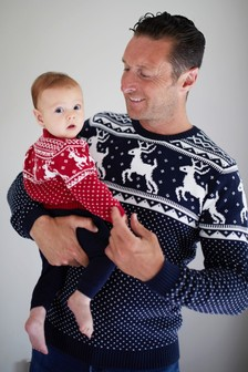 The Little Tailor Navy Mens Family Christmas Fairisle Pattern Jumper