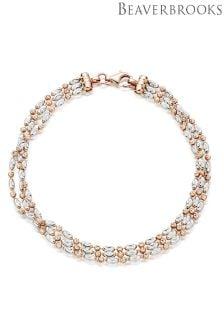 Beaverbrooks Silver Rose Gold Plated Three Row Bracelet