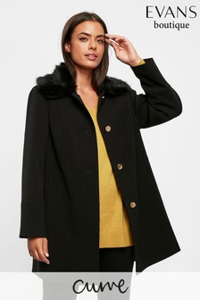 Evans Curve Black Faux Fur Coat