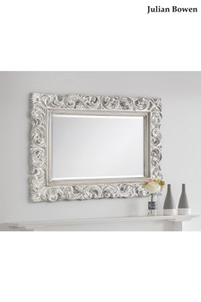 Ivory Distressed Baroque Wall Mirror by Julian Bowen