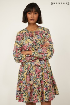 Warehouse Black Floral Long Sleeve Mini Dress