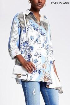 River Island Blue Print Asymmetric Hem Shirt