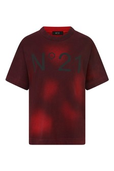 Boys Red Logo Print Cotton T-Shirt