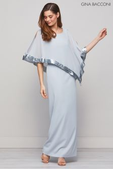 Gina Bacconi Grey Tiffany Sequin Trim Cape Maxi Dress