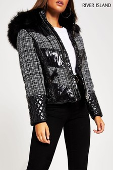 River Island Mono Check Boucle Mix Tatiana Padded Jacket