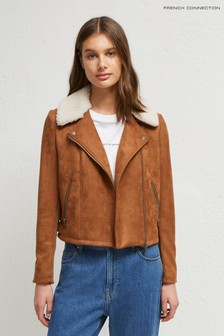 French Connection Brown Amaranta Faux Shearling Suedette Jacket