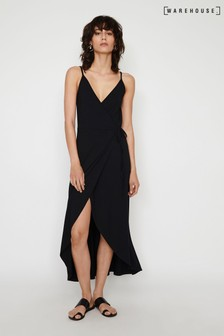 Warehouse Black Cami Wrap Maxi Dress
