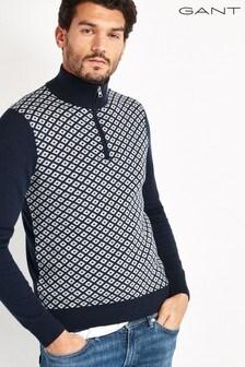 Синий свитер с молнией до груди и мелким мозаичным принтом GANT