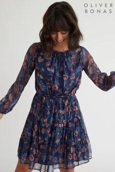 שמלת מיני עם פסים של Oliver Bonas דגם Printed Sparkle בכחול