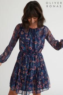 Oliver Bonas Blue Printed Sparkle Stripe Mini Dress