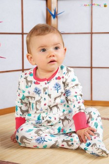 Frugi GOTS Organic Babygrow With Integral Scratch Mitts In Pink Deer Print