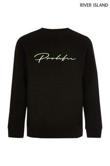 River Island Black Jacquard Neon Prolific Embroidered Sweater