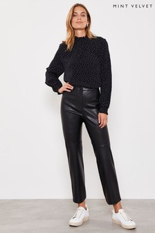 Mint Velvet Black PU Straight Leg Trousers