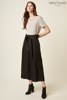 Great Plains Black Beau Belt Wide Leg Trousers