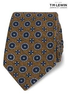 T.M. Lewin Mustard Heritage Geometric Wool Slim Tie