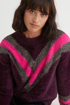 Oliver Bonas Purple Chevron Tinsel Jumper