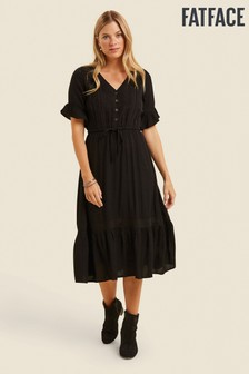 FatFace Black Esme Lace Midi Dress