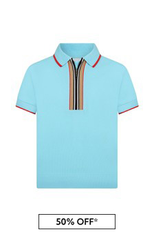Burberry Kids Boys Blue Cotton Polo Top