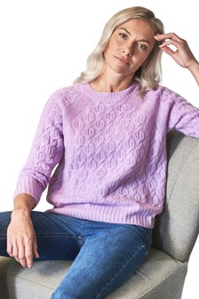 Pure Collection Purple Cashmere Lofty Cable Sweater