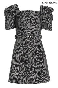 River Island Black/Silver Zebra 80's Dress