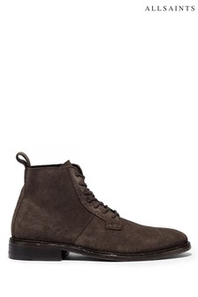 AllSaints Grey Trent High Top Lace-Up Suede Trainers