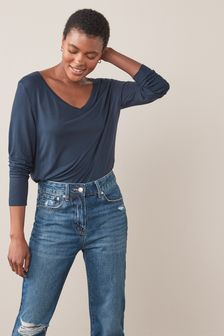 Slouch V-Neck Long Sleeve T-Shirt