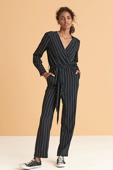 Long Sleeve Belted Jumpsuit