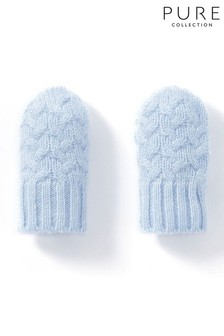 Pure Collection Blue Cashmere Baby Cable Mitt