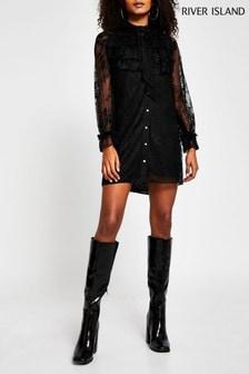 River Island Black Long Sleeve Lace Frill Dress