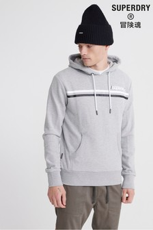 Superdry Grey Core Logo Stripe Hoody
