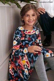 Polarn O. Pyret Blue Organic Cotton Carousel Print Dress