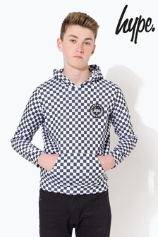 Hype. White Checkerboard Crest Kids Pullover Hoody